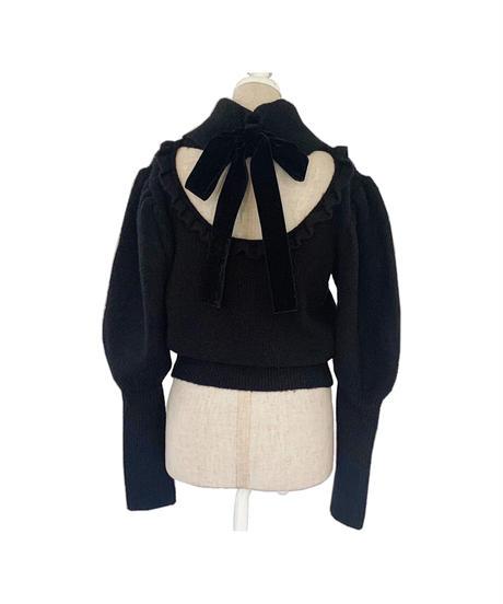 【&lottie original】back ribbon puff sleeve knit -black-