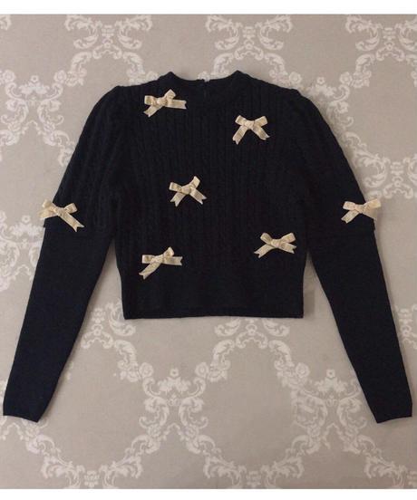 ribbon puff sleeve knit (2colors)