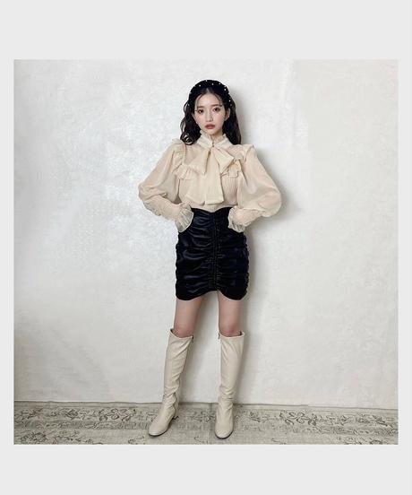 center shirring fake leather skirt