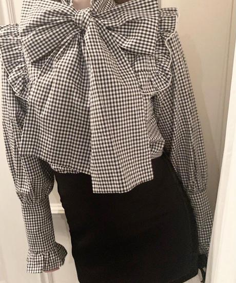 big ribbon blouse (gingham check)