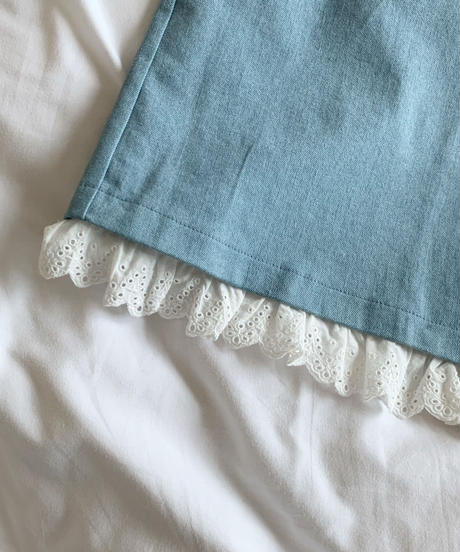 frill denim long skirt (ice blue)