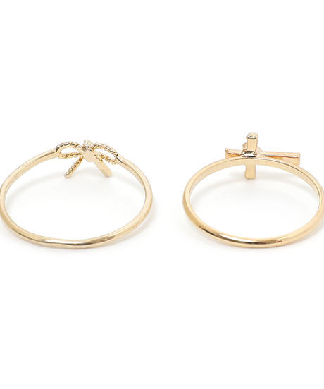 ribbon & heart rosario ring set (S19-10106K)