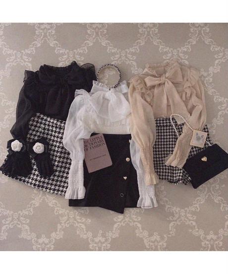 【Re stock】knit docking ribbon blouse -black-