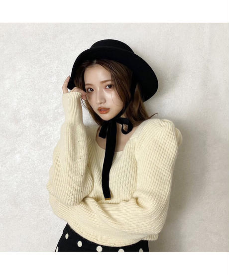 【Autumn 33】puff sleeve square lib knit (A20-01211K)