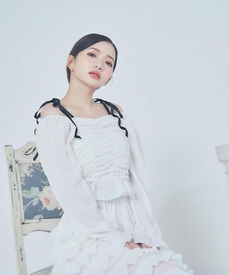 shoulder ribbon shirring blouse (3colors)