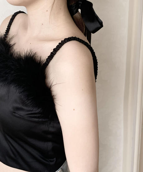 feather satin bustier -black-