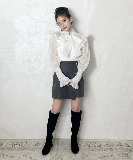 【Re stock】knit docking ribbon blouse -white-