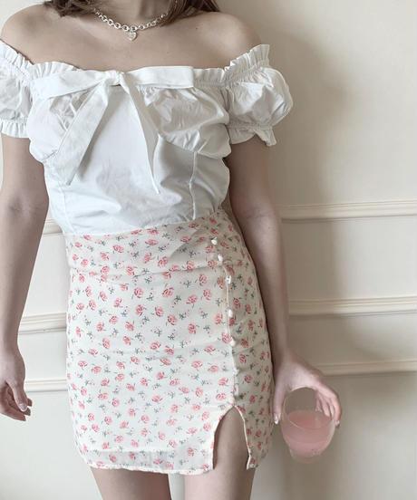 flower slit mini skirt