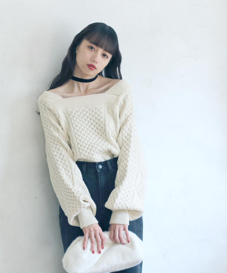 square neck knit(A19-01171K)