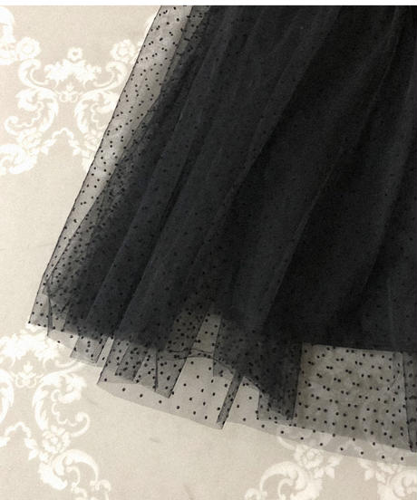 dot tulle tiered skirt (A20-03065K)