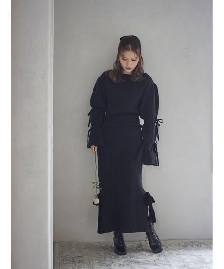 【&lottie original】side ribbon knit skirt (A20-03060O)