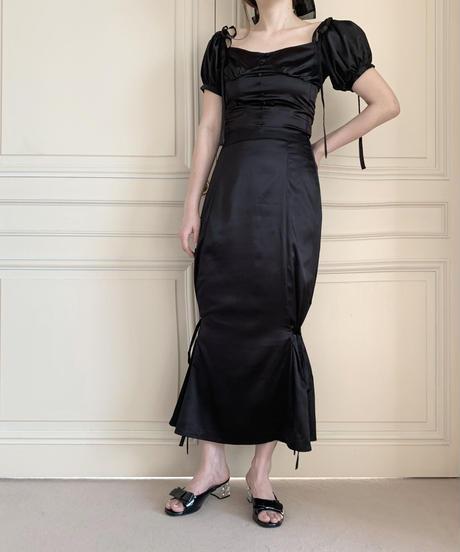 puff satin blouse -black-