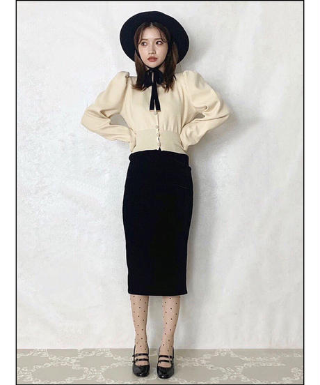 【Autumn 22】velour stripe pencil skirt (A19-05023K-2)