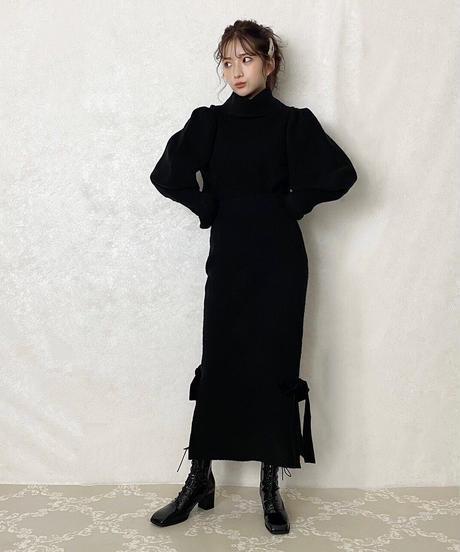 【&lottie original】side ribbon knit skirt -black-