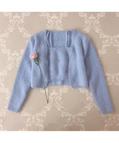 petit rose cami&cardigan (2colors)