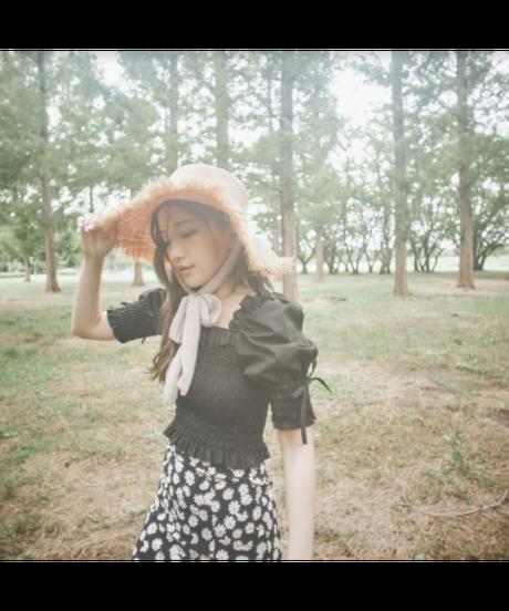 【Summer 23】chiffon ribbon strap straw hat (S19-10075K)