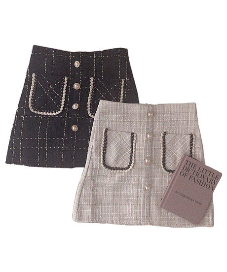 【Autumn 2】tweed pearl button mini skirt
