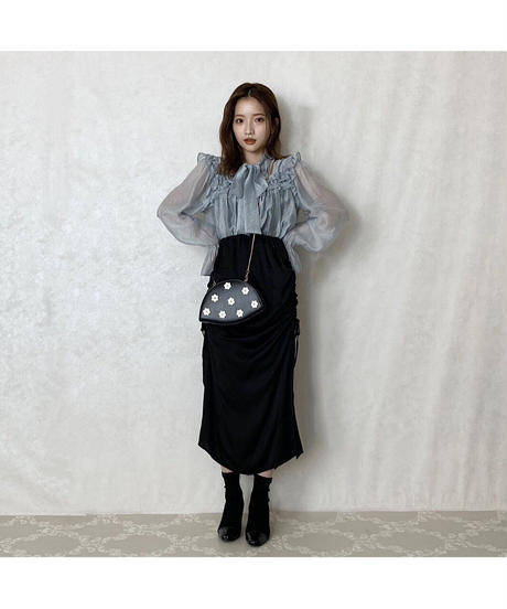 【Autumn 25】side shirring satin skirt (A20-03063K)
