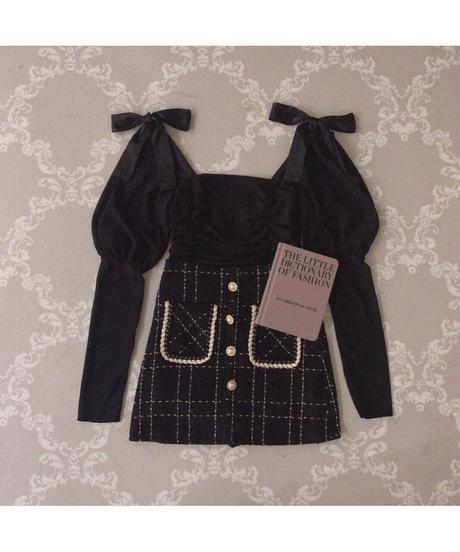 【Autumn 15】long cuffs ribbon blouse (cg00054)