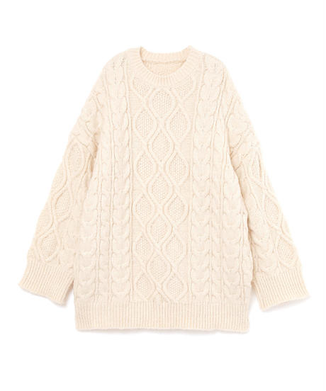 wool big cable knit one piece(A19-04067K)