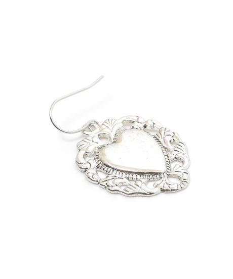 vintage silver heart pierce(A19-10121K)