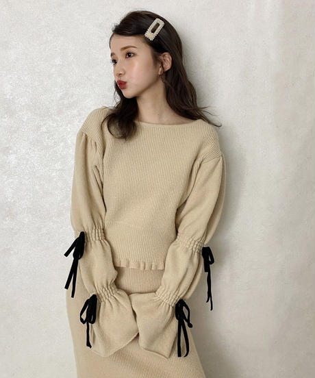 【&lottie original】candy sleeve ribbon knit (A20-01209O)