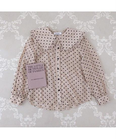 dot frill collar blouse (2colors)