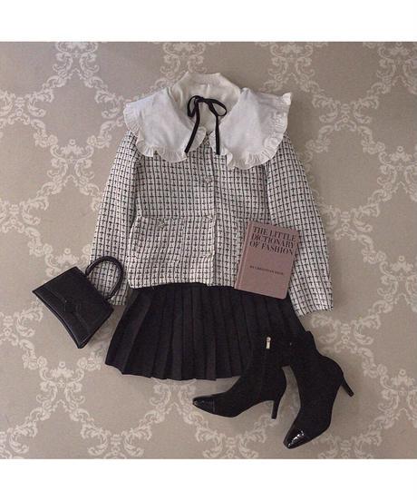 【last 1】big collar tweed jacket
