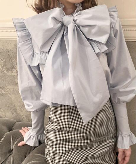 big ribbon blouse (sax blue)