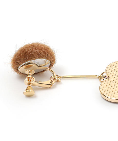 leopard heart asymmetry earring