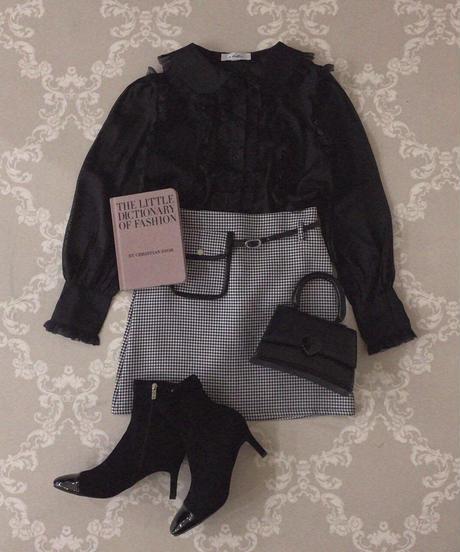sheer frill blouse -black-