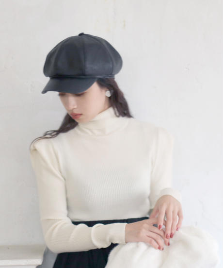 leather casquette(A19-10138K)