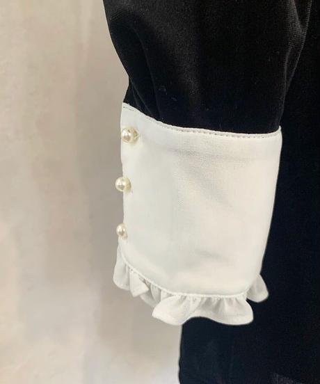 【&lottie original】frill ribbon velour mini one-piece (A20-04083O)