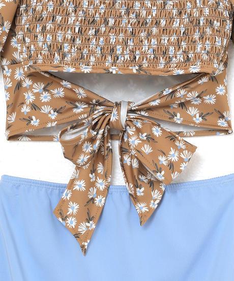 flower neck high waist swimwear