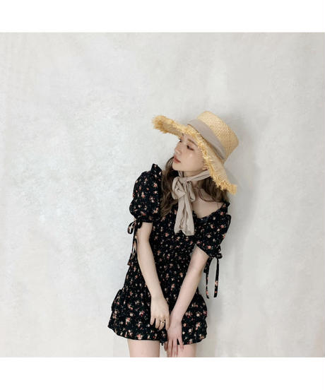 【Summer 38】flower shirring one-piece (S20-04082K)