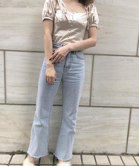 puff satin blouse -pink beige-