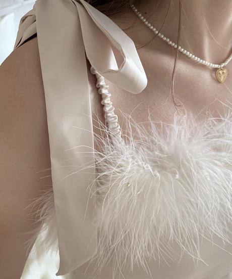 feather satin bustier -pink beige-