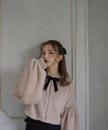 【&lottie original】bell sleeve shaggy coat -pink-