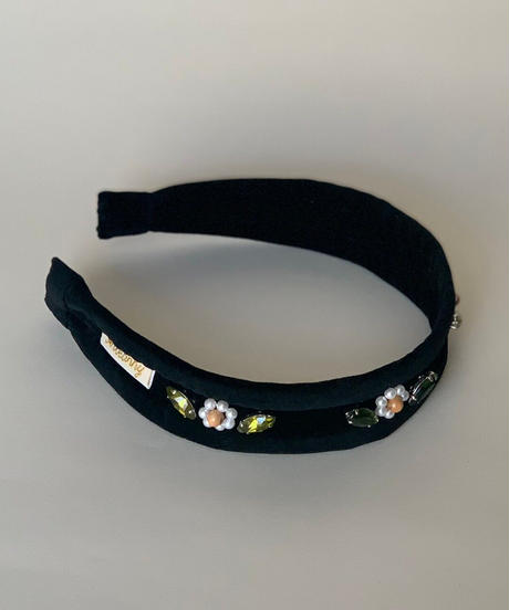 flower bijou headband (wood & pearl beads)