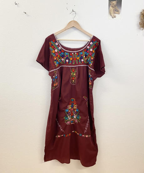 エスニック刺繍ワンピース(Burgundy)3470