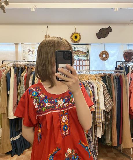 エスニック刺繍ワンピース(red)3472