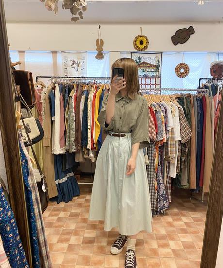 涼しげなミント色のスカート3456