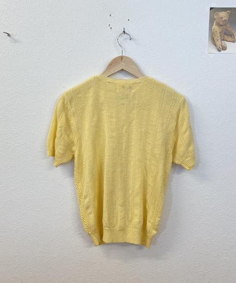 レモン色のあみあみ半袖3483