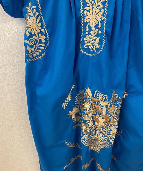 エスニック刺繍ワンピース(blue)3471