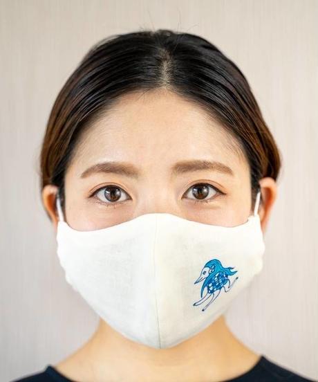 ダブルガーゼ アマビエワンポイントプリント 立体マスク(クリームイエロー)