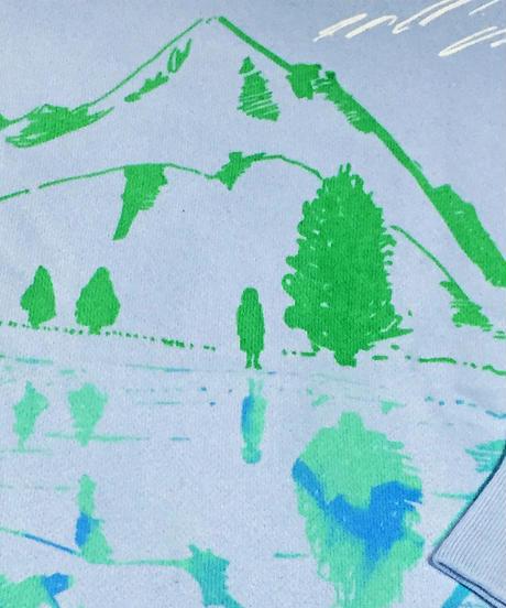 【在庫限り】水鏡スウェット 水色×グリーン