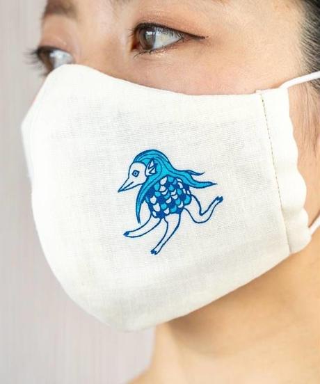 ダブルガーゼ アマビエワンポイントプリント 立体マスク(コーラルピンク)