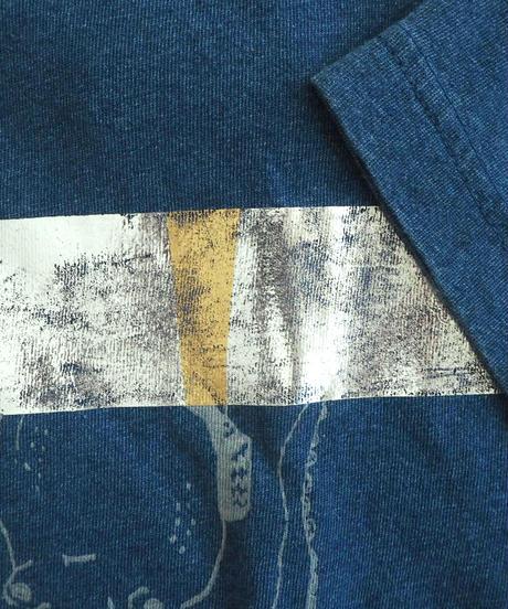 イカとタコのDJユニットTシャツ インディゴ染 箔プリントあり(一点物)