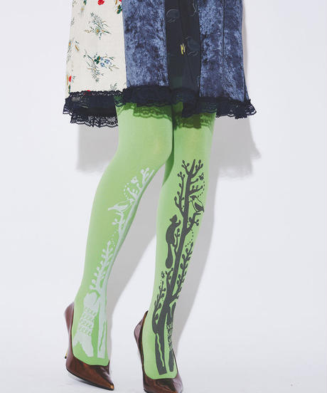 Slender tree and animals Tights (Green - 80D)