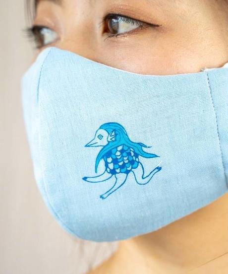 ダブルガーゼ アマビエワンポイントプリント 立体マスク(ライトブルー)